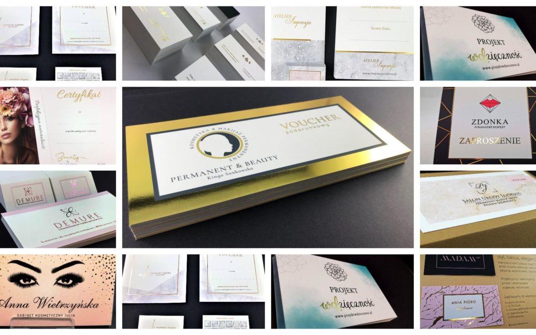 Pozłacany druk srebro i złoto na materiałach reklamowych i okolicznościowych